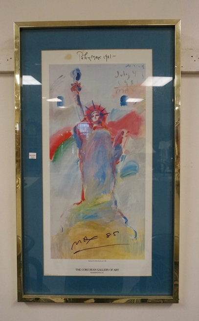 PETER MAX 1981 STATUE OF LIBERTY PRINT. 12 IN X 24 3/4 IN