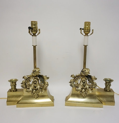 PAIR OF BRASS LAMPS WITH LEAF DECORATION AND SIDE CANDLE CUPS. 16 1/2 IN H