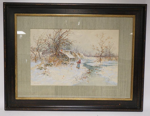 EXCEPTIONAL P. BUCKENS JR. WATERCOLOR PAINTING OF A SNOW COVERED COTTAGES AND A