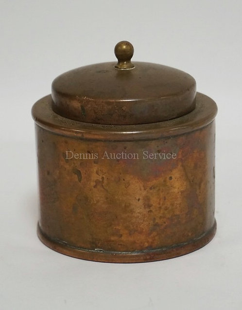 JOSEPH HEINRICHS BRONZE TEA CADDY LINED WITH STERLING SILVER. 3 3/4 INCHES HIGH.