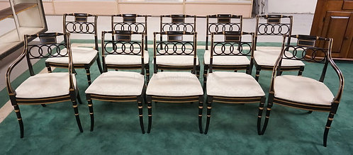 SET OF 10 *BAKER FURNITURE - HISTORIC CHARLESTON* DINING CHAIRS IN BLACK LACQUER