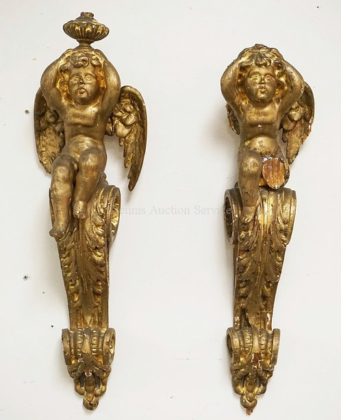 PAIR OF CARVED GILTWOOD ANTIQUE CHERUB SCONCES. HAVE LOSSES. 26 IN H