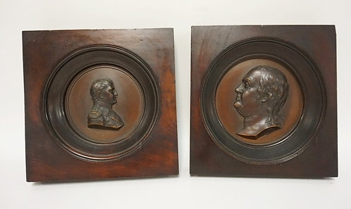 2 BRONZE PROFILE PORTRAIT PLAQUES IN MAHOGANY FRAMES. ONE IS NAPOLEAN, OTHER IS