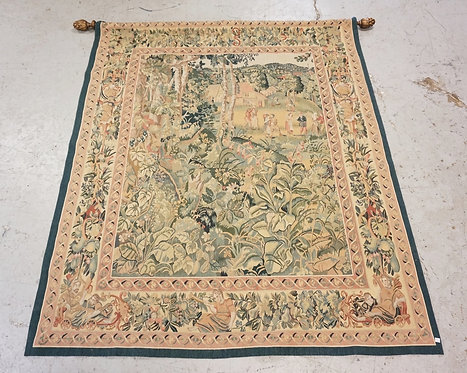 WOVEN TAPESTRY DEPICTING A COUNTRYSIDE WITH ROLLING HILLS, COTTAGES, AND PEOPLE.