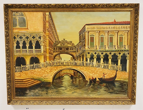 ARMANDO MEDINA S. VENETIAN OIL PAINTING ON CANVAS WITH GONDOLAS IN A CANAL AND E
