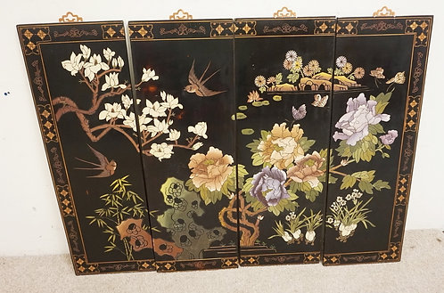 SET OF 4 CHINOISERIE DECORATED PANELS. EACH MEASURING 36 X 12 INCHES.