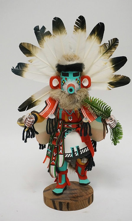 NATIVE AMERICAN INDIAN KACHINA DOLL TITLED *MORNING KACHINA* ARTIST SIGNED. 15 I