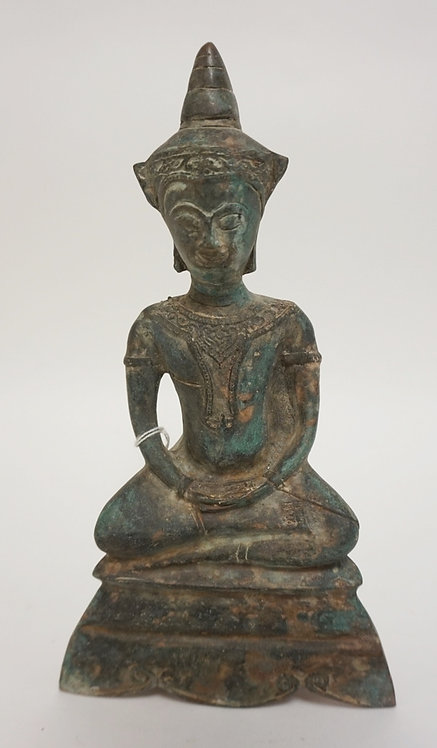 ASIAN BRONZE SEATED FIGURE. BASE CEMENT FILLED. 10 3/8 IN H