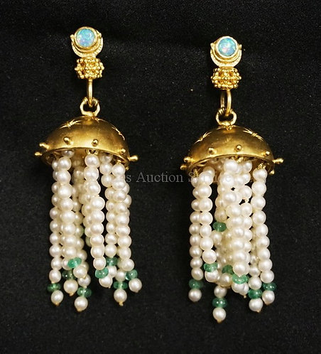 PAIR OF STEPHANI BRIGGS CHANDELIER EARRINGS. TOPS ARE SET WITH GEM OPALS IN 22K