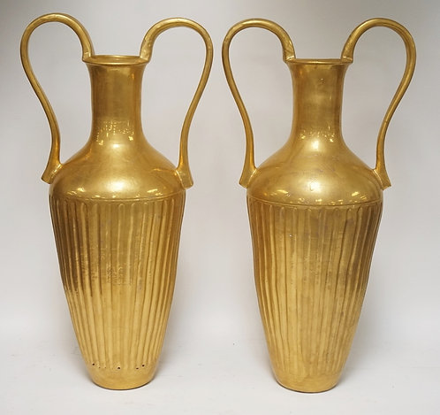 PAIR OF GOLD PAINTED CERAMIC FLOOR URNS. FLUTED BODIES. DOUBLE HANDLED. 31 1/2 I