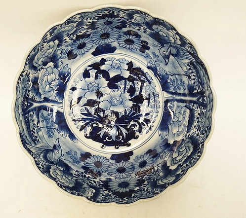 ANTIQUE IMARI BOWL DECORATED WITH BIRDS, TREES, AND FLOWERS. 12 INCH DIA. 4 1/2
