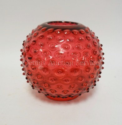 CRANBERRY HOBNAIL BALL OIL LAMP SHADE WITH A 3 15/16 INCH FITTER RIM. 8 INCH DIA