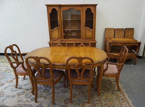 9 PIECE DINING ROOM SET. CHINA CABINET, 6 CHAIRS, TABLE MEASURING 63 X 43 3/4 IN
