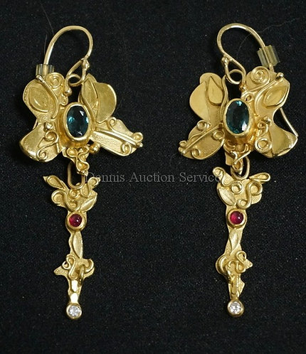 STEPHANI BRIGGS 18K & 22K GOLD *BUTTERFLY* EARRINGS. INDICOLITE TOURMALINE, RUBY