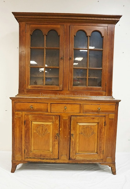 ANTIQUE 2 PIECE HUTCH WITH 12 INDIVIDUAL LIGHTS, PANELED DOORS WITH SHELL CARVIN