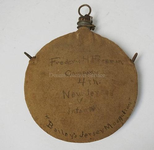 CIVIL WAR CANTEEN OF FREDERIC H. FREEMAN 4TH NEWJERSEY VOL INFNATRY. WRITTEN ON