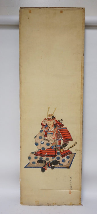 ASIAN ANCESTRAL PAINTING ON SILK. 48 X 15 1/4 INCHES.