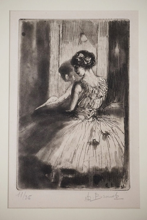 AUGUSTE BROUET LIM ED PRINT OF A BALERINA. #11 OF 25. 4 1/4 IN X 6 1/2 IN