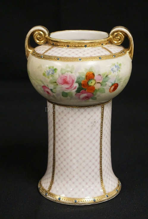 NIPPON HAND PAINTED AND JEWELED VASE. 7 1/4 INCHES HIGH. HAS SOME WEAR TO THE GO
