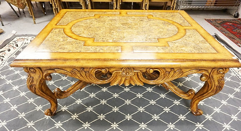 MAITLAND SMITH COFFEE TABLE WITH CARVED LEGS AND AN INSET MARBLE TOP. 52 1/2 X 4