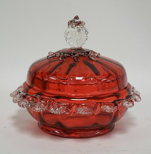 CRANBERRY GLASS DISH WITH LID HAVING APPLIED CLEAR RIGORY EDGE AND AN APPLIED CL