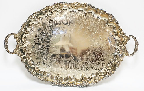 HEAVY SILVERPLATED SERVING TRAY WITH A GRAPE AND VINE RELIEF BORDER, FIGURED FEE