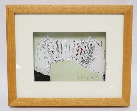 JEAN-PIERRE WEILL VITREOGRAPHY OF HANDS SHUFFLING CARDS. LIMITED EDITION 108/950