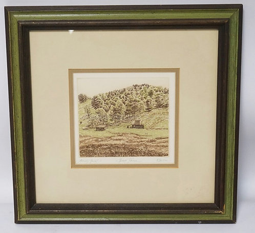 PENCIL SIGNED COLOR ETCHING TITLED *SHEEP FARM* BY *KALNTIN*. 6 X 5 1/4 INCH IMP