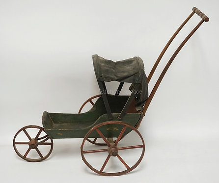 LATE 19TH CENTURY JOEL ELLIS STYLE HOODED VICTORIAN DOLL CARRIAGE, 21 INCHES TAL