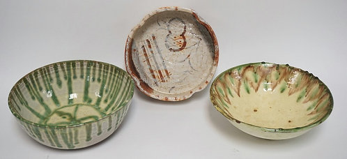 LOT OF 3 MODERN ART POTTERY BOWLS. ONE SIGNED *VILLA*. LARGEST IS 10 INCHES IN D