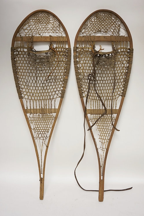 PAIR OF ANTIQUE SNOWSHOES. 43 X 13 1/2 INCHES.