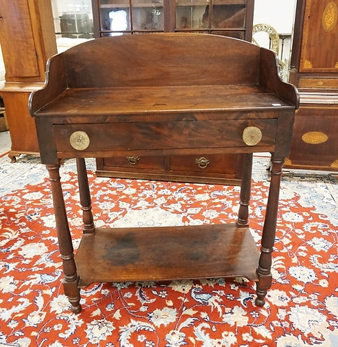 ANTIQUE MAHOGANY WORK TABLE/WASHSTAND WITH TURNED LEGS, BACKSPLASH, AND ANTIQUE