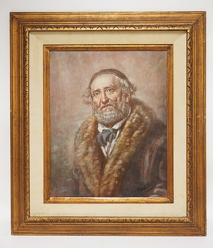PORTRAIT OIL PAINTING ON CANVAS OF A MAN. SIGNED LOWER RIGHT. 15 1/2 X 19 1/2 IN