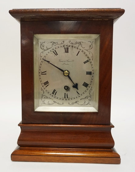 CAMERER CUSS MAHOGANY CASED MANTEL CLOCK. BEVELED GLASS PANELS.