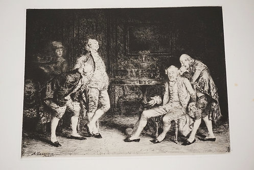 1070_A. CASANOVA ETCHING TITLED *LE SOUND*. 12 3/4 X 9 1/2 INCHES/