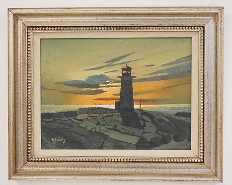 STANLEY M. ZUCKERBERG (1919-1995) OIL PAINTING ON BOARD OF A LIGHTHOUSE AT SUNRI