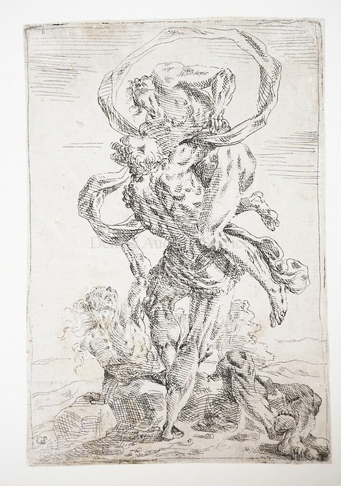 GIAVANNI PIETRO POSSENTI (1618-1659). *HERCULES AND ANTAEUS* ETCHING. 191 X 130