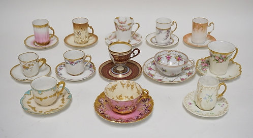LOT OF 13 CUP AND SAUCER SETS. INCLUDES LIMOGES, DRESDE, AND CROWN CHINA. THE TA