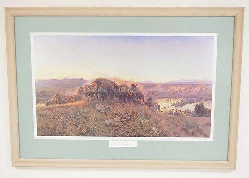 CHARLES RUSSELL PRINT *WHEN THE LAND BELONGED TO GOD*. CUSTOM CUT MAT. 31 X 18 I