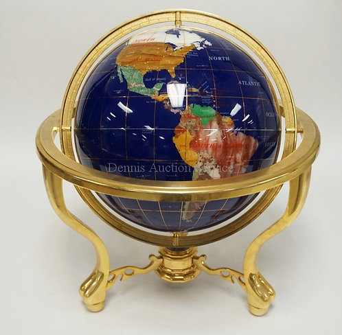 EARTH GLOBE INLAID WITH VARIOUS STONES AND A BRASS STAND. 19 1/4 INCHES HIGH. 17