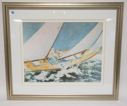 LOUIS ICART PRINT OF 3 WOMEN ON A SAILBOAT. 35 1/2 X 30 1/2 INCH FRAME. PROFESSI