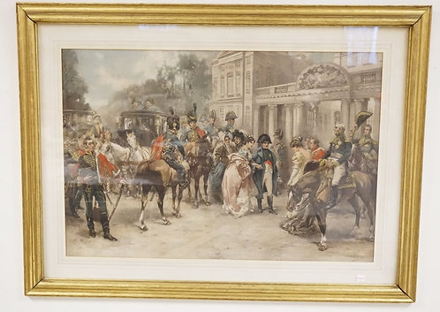 V.G. PAREDES PRINT OF NAPOLEON AND A GROUPING OF MILITARY FIGURES. 20 X 30.