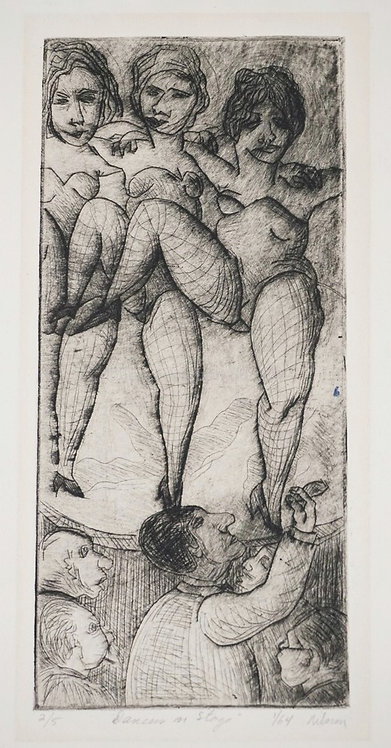 GLADYS NILSSON ETCHING *DANCERS ON STAGE*. MARKED 2/5 LOWER LEFT AND 1/16 NEXT T
