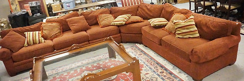 3 PART SECTIONAL SOFA WITH EXTRA PILLLOWS. MADE BY LEE INDUSTRIES.