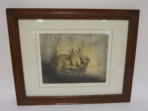 LIM ED PRINT BY LOIS CARSON *TWO BUNNIES* IN AN OAK FRAME. 55 0F 100. 12 1/2 IN