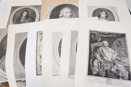 LOT OF 9 VERY LARGE ANTIQUE PORTRAIT ENGRAVINGS. LARGEST IMPRESSION IS 17 1/8 X