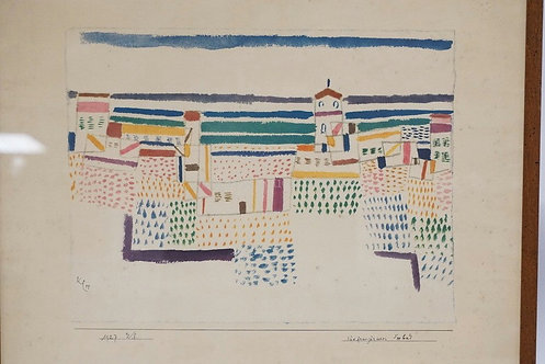 PRINT OF A CITY. SIGNED AND DATGED 1927. 13 X 10 INCH IMAGE.