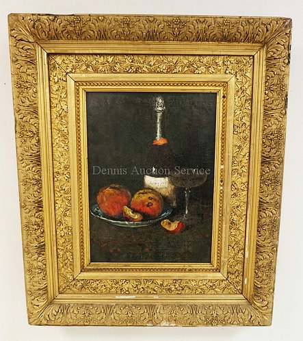 ANTIQUE OIL PAINTING ON CANVAS. STILL LIFE WITH A CHAMPAGNE BOTTLE AND GLASS ALO