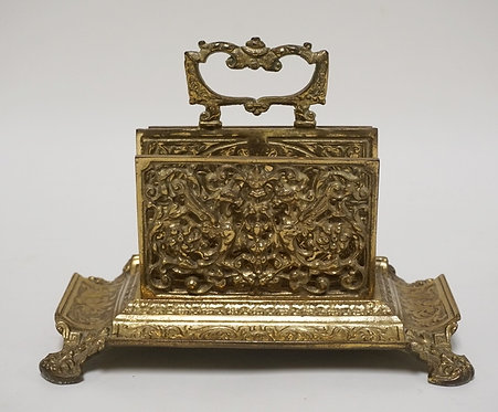 CAST BRASS LETTER HOLDER MEASURING 9 1/2 X 5 1/2 AND 7 INCHES HIGH.