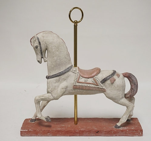 PLASTER SCULPTURE OF A CAROUSEL HORSE. 20 INCHES HIGH.